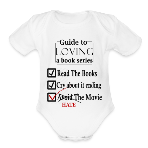 Guide To Loving A Book Series (Black) - Organic Short Sleeve Baby Bodysuit