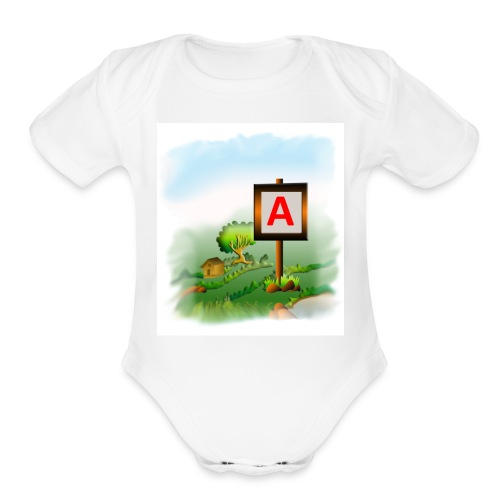 Super nature kids love letter A banner - Organic Short Sleeve Baby Bodysuit