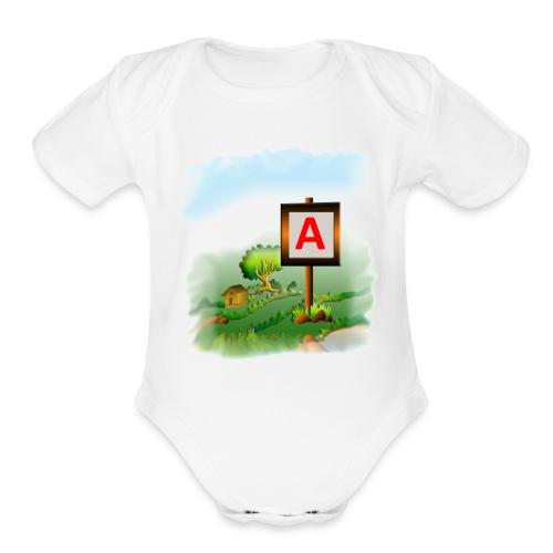 Super nature kids love letter A banner - Organic Short Sleeve Baby Bodysuit