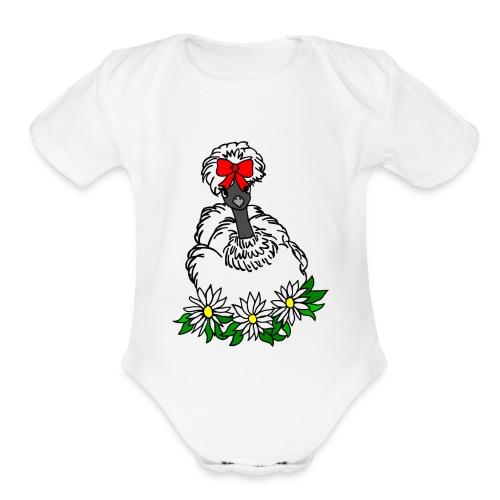 Silkie Showgirl Chicken Hen - Organic Short Sleeve Baby Bodysuit