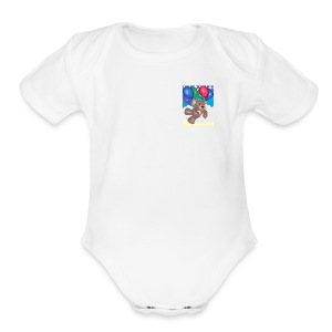 Bear floating with balloons; - Short Sleeve Baby Bodysuit