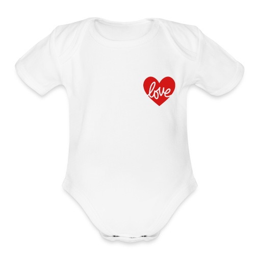 Love In My Heart - Organic Short Sleeve Baby Bodysuit