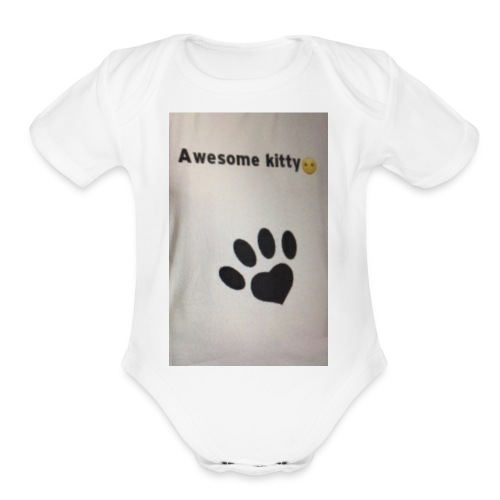 Stay Awesome kitties - Organic Short Sleeve Baby Bodysuit