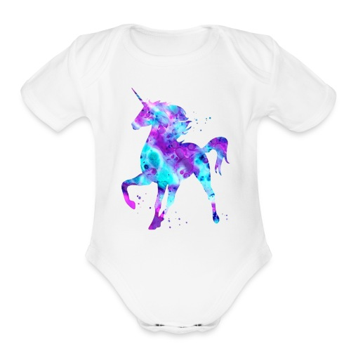 Purple & blue unicorn - Organic Short Sleeve Baby Bodysuit