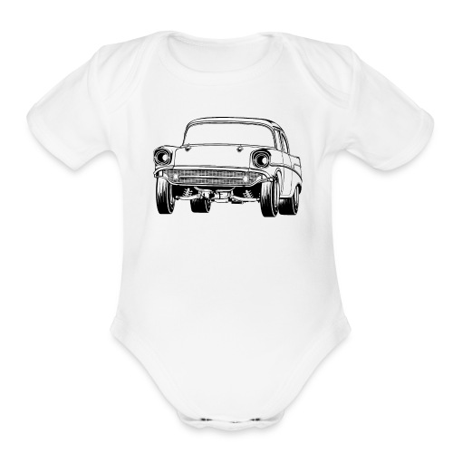 Gasser Up 1957 Chevy Drag Car - Organic Short Sleeve Baby Bodysuit