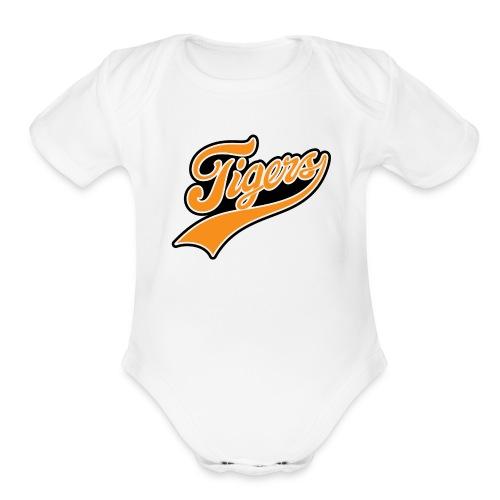 IV Tail on White - Organic Short Sleeve Baby Bodysuit