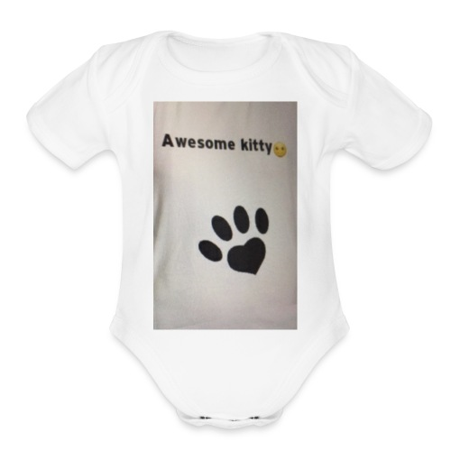 Stay Awesome kitties - Organic Short Sleeve Baby Bodysuit