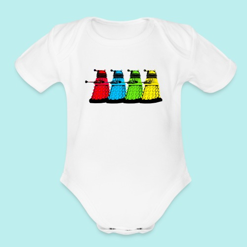 Dalek Four Colours - Organic Short Sleeve Baby Bodysuit