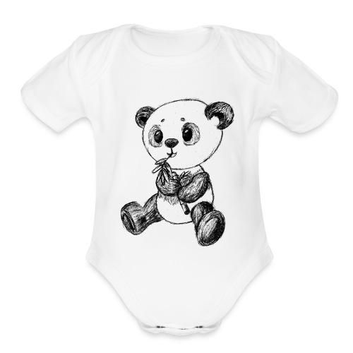 Panda bear black scribblesirii - Organic Short Sleeve Baby Bodysuit