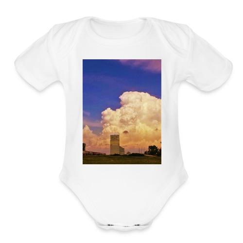 stormy elevator - Organic Short Sleeve Baby Bodysuit