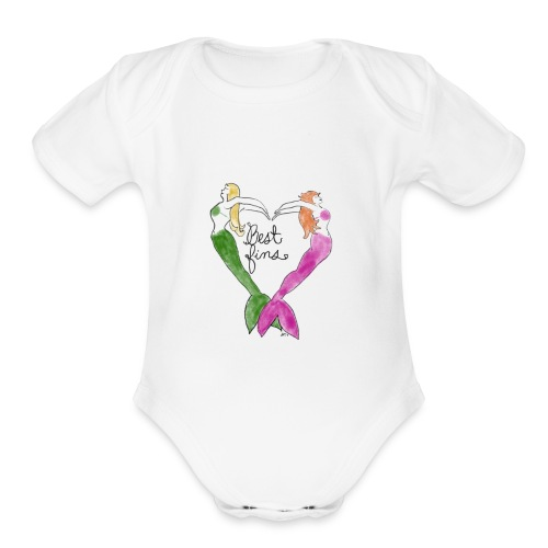 BEST FINS mermaid heart - Organic Short Sleeve Baby Bodysuit