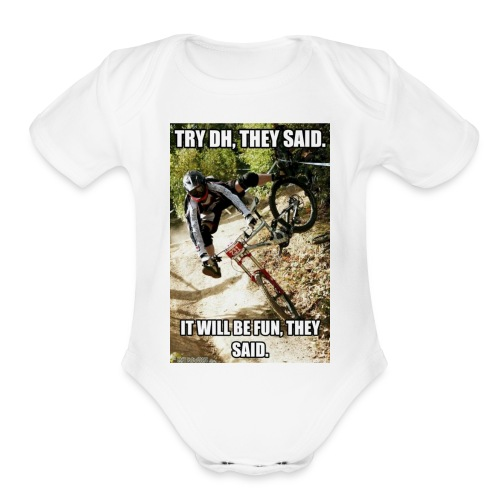 Bike meme on your shirt - Organic Short Sleeve Baby Bodysuit