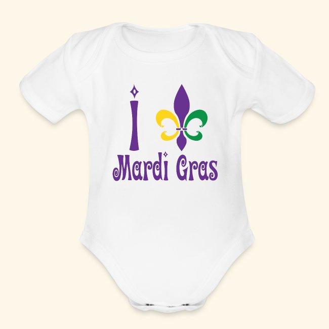 Mardi Gras Fleur-de-lis with Heart Onesies Jumpsuit as picture6 Months