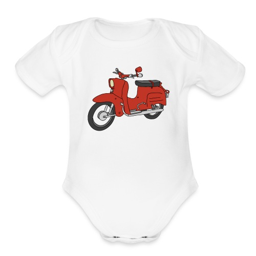 Schwalbe, ibiza-red scooter from GDR - Organic Short Sleeve Baby Bodysuit