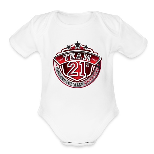 Team 21 - Chromosomally Enhanced (Red) - Organic Short Sleeve Baby Bodysuit