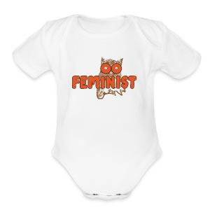 Feminist Hooting Owl - Short Sleeve Baby Bodysuit
