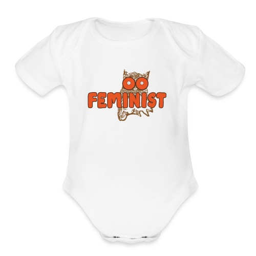 Feminist Hooting Owl - Organic Short Sleeve Baby Bodysuit
