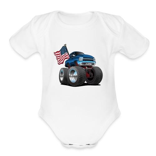 Monster Pickup Truck with USA Flag Cartoon - Organic Short Sleeve Baby Bodysuit