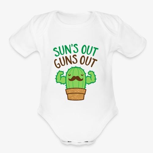 Sun's Out Guns Out Macho Cactus - Organic Short Sleeve Baby Bodysuit
