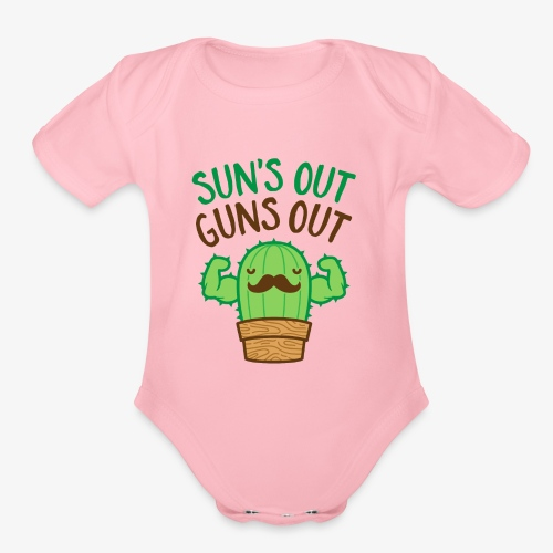 Sun's Out Guns Out Macho Cactus - Organic Short Sleeve Baby Bodysuit