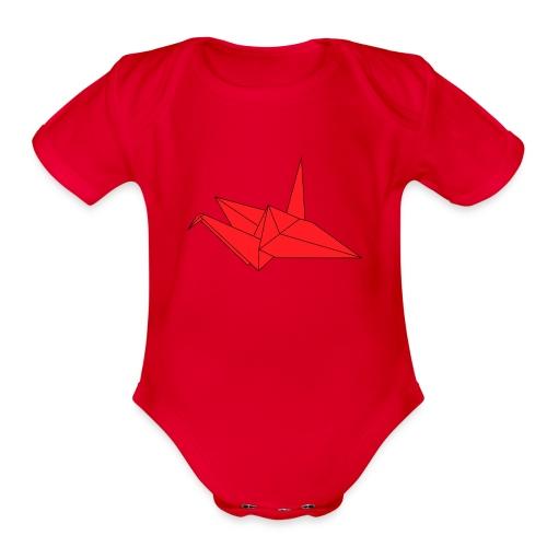 Origami Paper Crane Design - Red - Organic Short Sleeve Baby Bodysuit