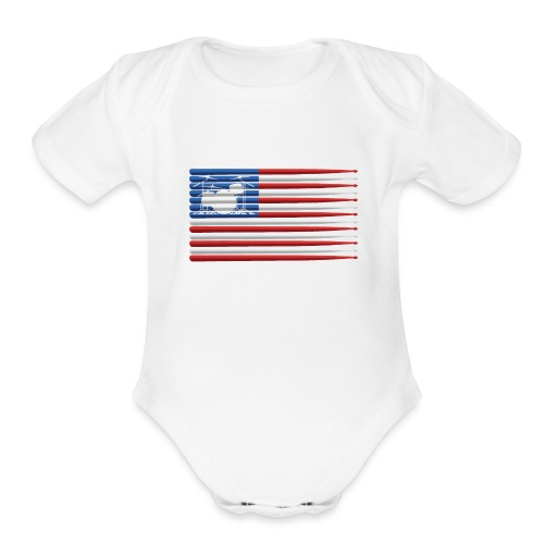 American Drummer Flag with Drum Kit and Sticks - Organic Short Sleeve Baby Bodysuit