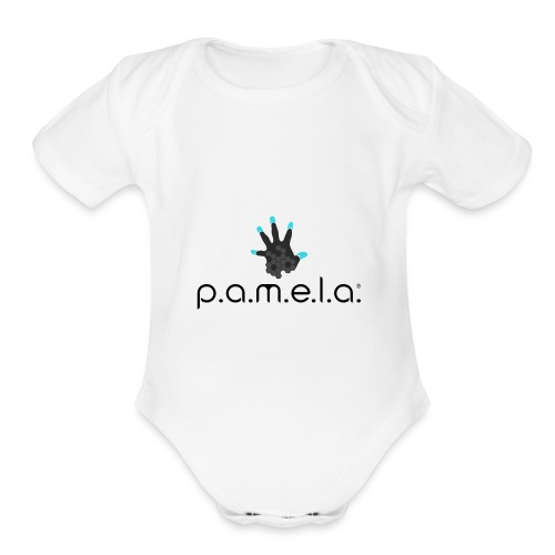 P.A.M.E.L.A. Logo Black - Organic Short Sleeve Baby Bodysuit