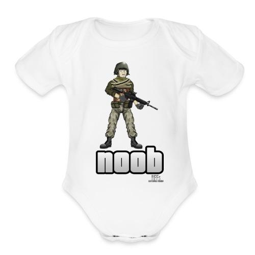 n00b design v1 with logo png - Organic Short Sleeve Baby Bodysuit