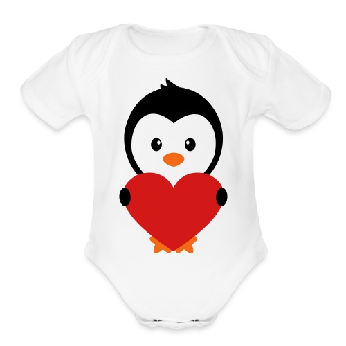 Penguin Love - Organic Short Sleeve Baby Bodysuit