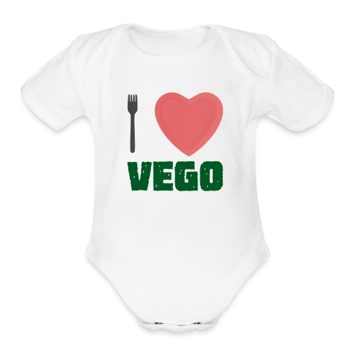 I love Vego - Clothes for vegetarians - Organic Short Sleeve Baby Bodysuit