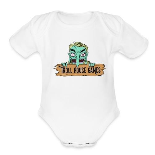 Troll House Games Cartoon Logo - Organic Short Sleeve Baby Bodysuit