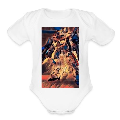 unicorn gundam - Organic Short Sleeve Baby Bodysuit