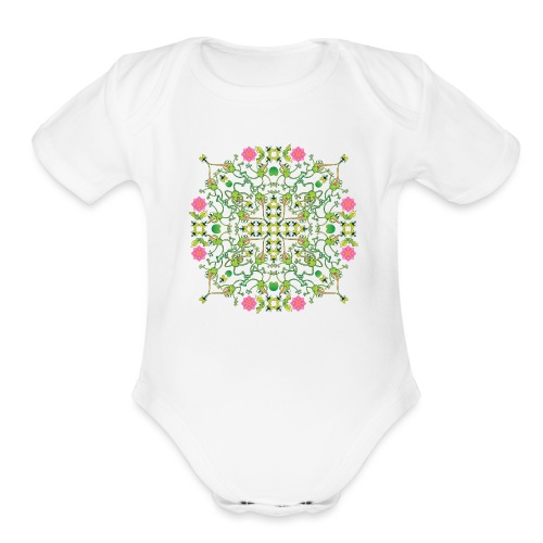 Funny green frogs hunting flies mandala design - Organic Short Sleeve Baby Bodysuit