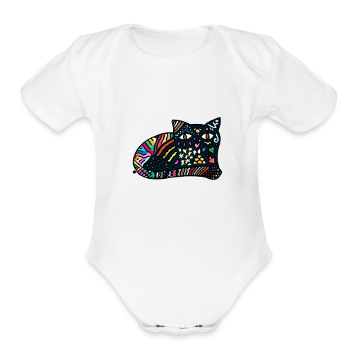 Dreamlike Cat - Organic Short Sleeve Baby Bodysuit