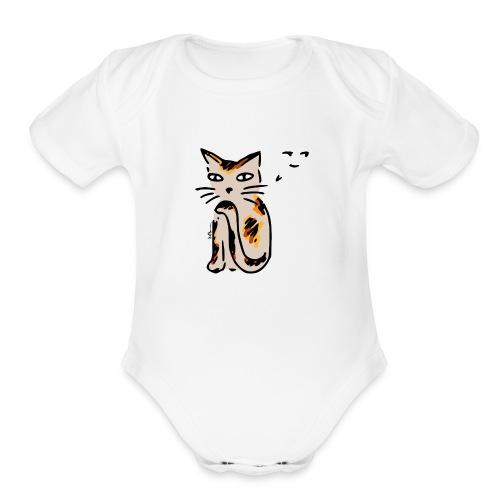 Sneaky Cat - Organic Short Sleeve Baby Bodysuit