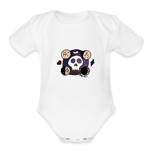 Moon Skull from Outer Space - Organic Short Sleeve Baby Bodysuit