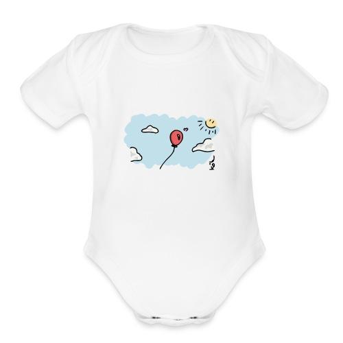 Balloon in Love - Organic Short Sleeve Baby Bodysuit