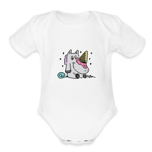 Ice Cream Unicorn - Organic Short Sleeve Baby Bodysuit