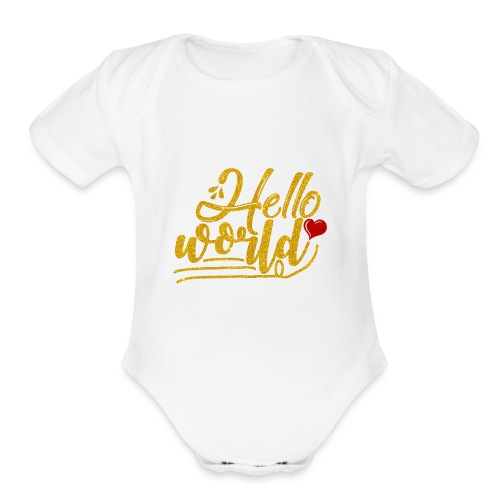 Baby Girl Clothes/Hello World/Home Outfit - Organic Short Sleeve Baby Bodysuit