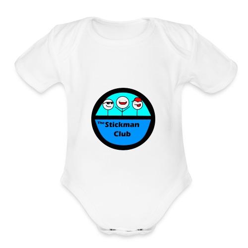 Stickman Club Logo - Organic Short Sleeve Baby Bodysuit
