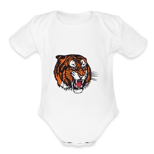 the beast tiger - Organic Short Sleeve Baby Bodysuit