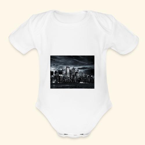 black logo 3 - Organic Short Sleeve Baby Bodysuit