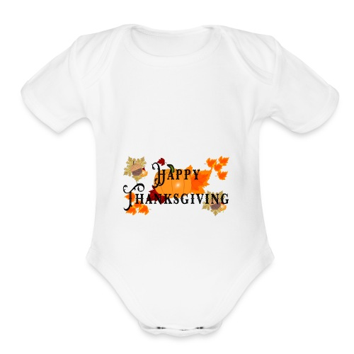 Happy Thanksgiving greeting card - Organic Short Sleeve Baby Bodysuit