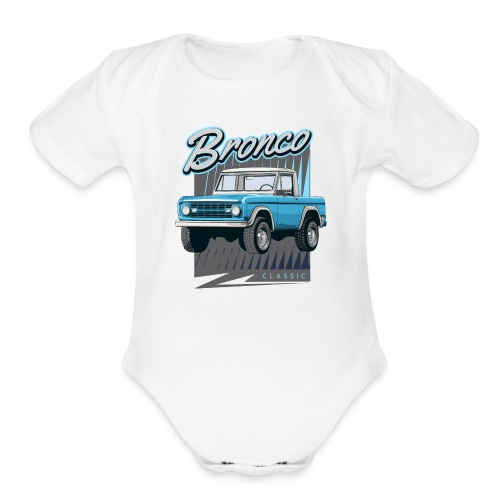 BRONCO Blue Half Cap Truck T-Shirt - Organic Short Sleeve Baby Bodysuit