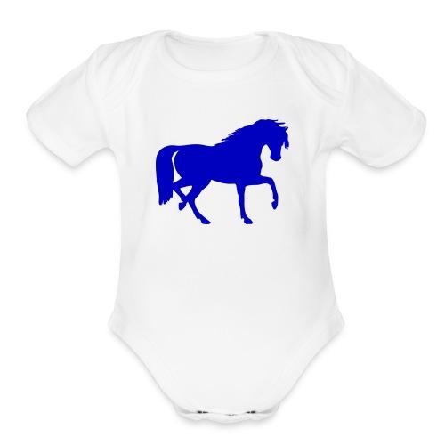 blue horse hoodie - Organic Short Sleeve Baby Bodysuit