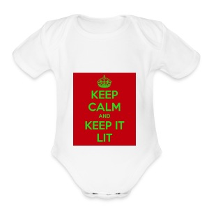 KEEP CALM AND KEEP IT LIT - Short Sleeve Baby Bodysuit