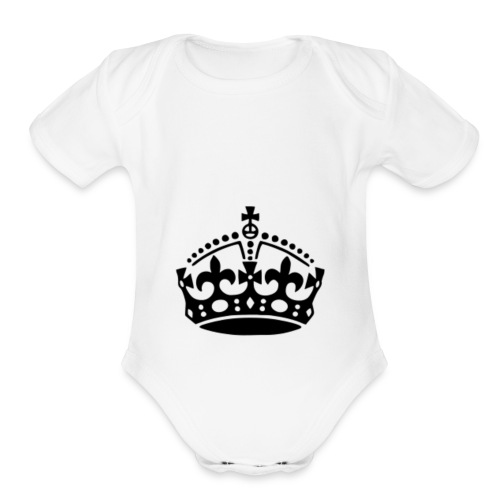 13625877091416650323keep calm crown hi - Organic Short Sleeve Baby Bodysuit