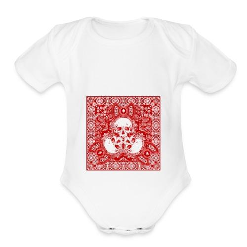 lucky skull bandanna design - Organic Short Sleeve Baby Bodysuit