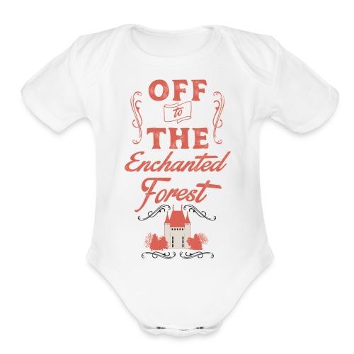 ENCHANTED FOREST RED RESI - Organic Short Sleeve Baby Bodysuit
