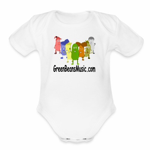 Green Bean's Music Apparel Black Logo - Organic Short Sleeve Baby Bodysuit